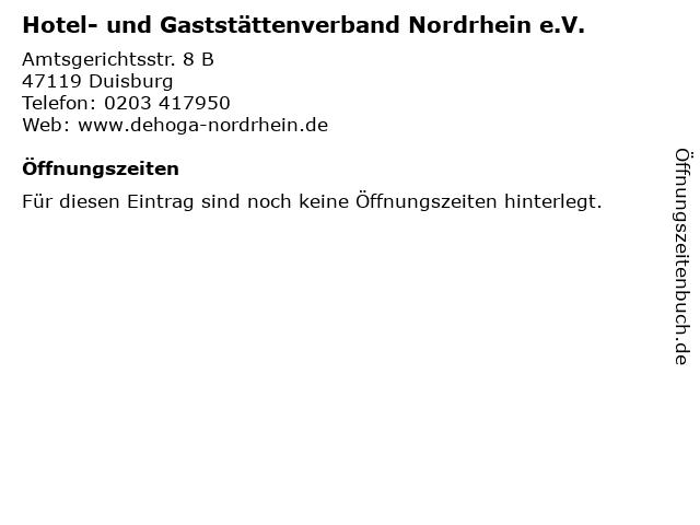 Hotel- und Gaststättenverband Nordrhein e.V. in Duisburg: Adresse und Öffnungszeiten
