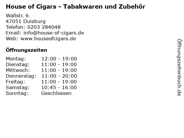 House of Cigars - Tabakwaren und Zubehör in Duisburg: Adresse und Öffnungszeiten