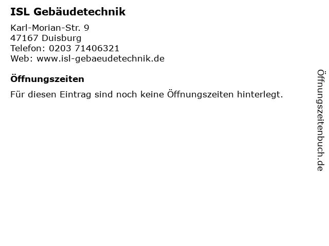 ISL Gebäudetechnik in Duisburg: Adresse und Öffnungszeiten