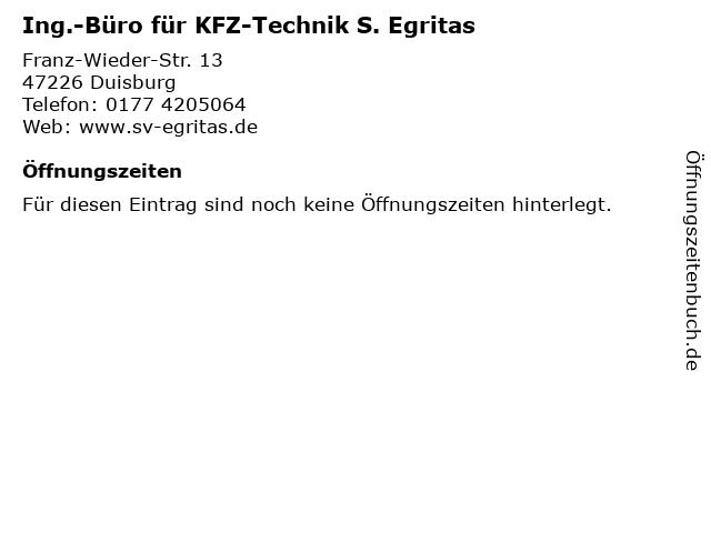 Ing.-Büro für KFZ-Technik S. Egritas in Duisburg: Adresse und Öffnungszeiten