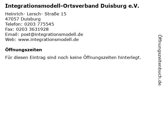 Integrationsmodell-Ortsverband Duisburg e.V. in Duisburg: Adresse und Öffnungszeiten