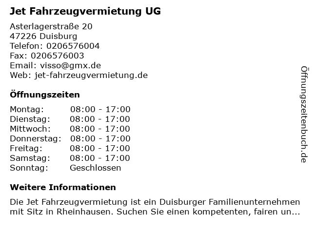 Jet Fahrzeugvermietung UG in Duisburg: Adresse und Öffnungszeiten