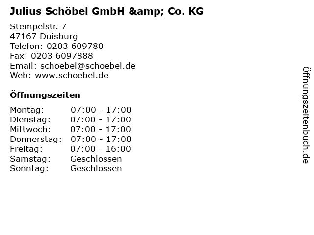 Julius Schöbel GmbH & Co. KG in Duisburg: Adresse und Öffnungszeiten