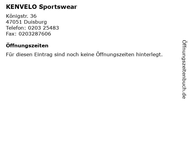KENVELO Sportswear in Duisburg: Adresse und Öffnungszeiten