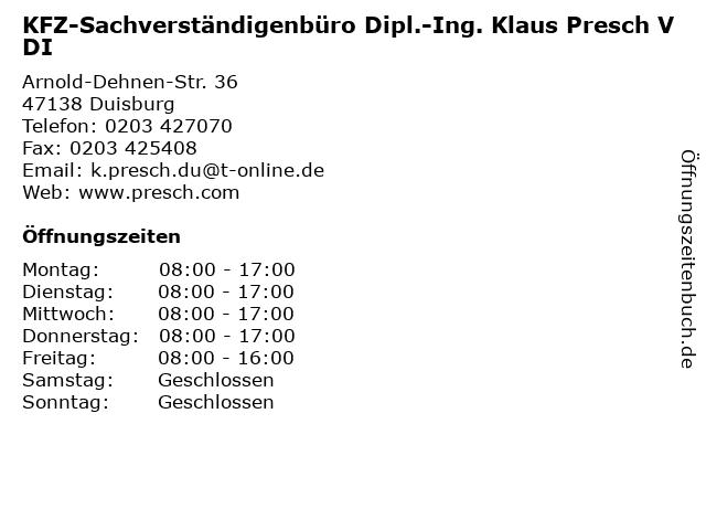 KFZ-Sachverständigenbüro Dipl.-Ing. Klaus Presch VDI in Duisburg: Adresse und Öffnungszeiten