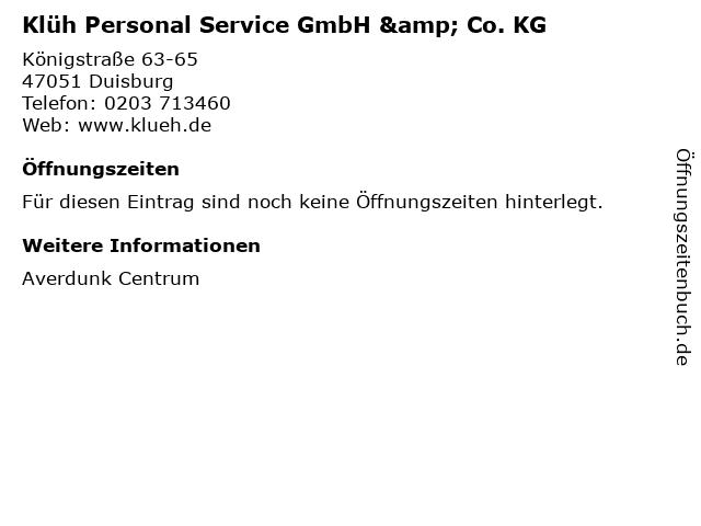 Klüh Personal Service GmbH & Co. KG in Duisburg: Adresse und Öffnungszeiten