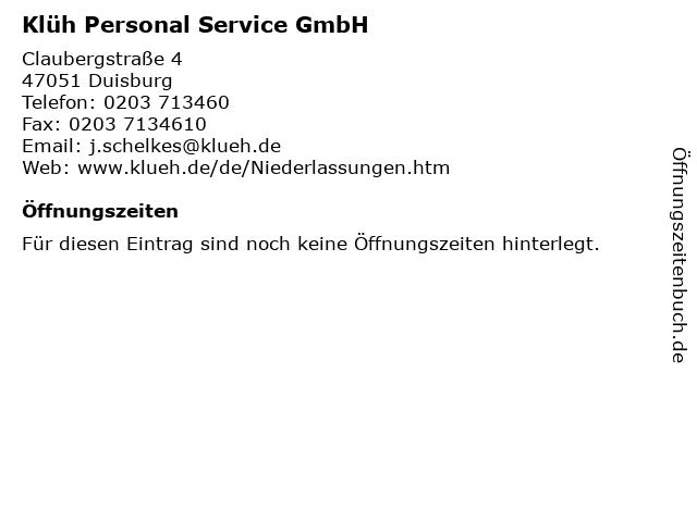 Klüh Personal Service GmbH in Duisburg: Adresse und Öffnungszeiten
