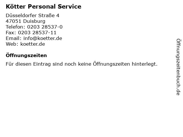 Kötter Personal Service in Duisburg: Adresse und Öffnungszeiten