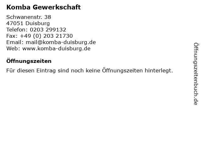 Komba Gewerkschaft in Duisburg: Adresse und Öffnungszeiten