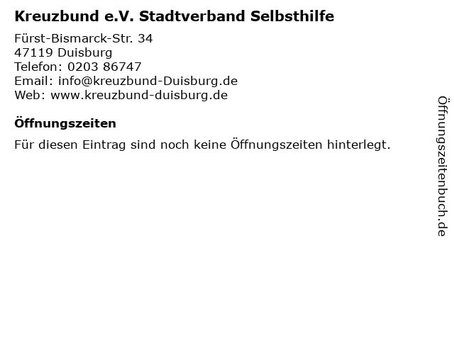 Kreuzbund e.V. Stadtverband Selbsthilfe in Duisburg: Adresse und Öffnungszeiten