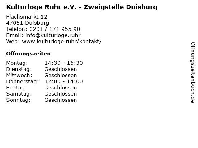 Kulturloge Ruhr e.V. - Zweigstelle Duisburg in Duisburg: Adresse und Öffnungszeiten