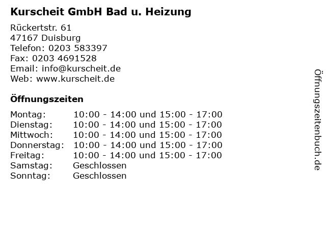 Kurscheit GmbH Bad u. Heizung in Duisburg: Adresse und Öffnungszeiten