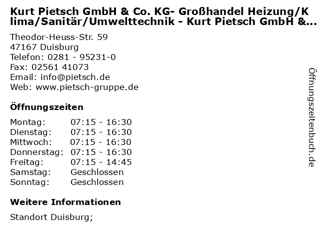 Kurt Pietsch GmbH & Co. KG- Großhandel Heizung/Klima/Sanitär/Umwelttechnik - Kurt Pietsch GmbH & Co. KG- Großhandel Heizung/Klima/Sanitär/Umwelttechnik - Fachcenter in Duisburg: Adresse und Öffnungszeiten