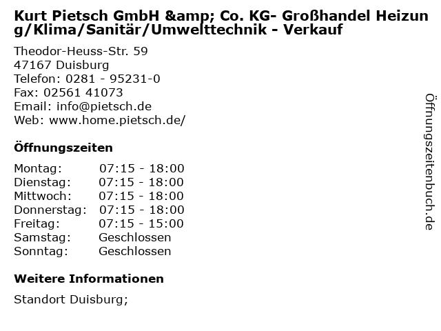 Kurt Pietsch GmbH & Co. KG- Großhandel Heizung/Klima/Sanitär/Umwelttechnik - Verkauf in Duisburg: Adresse und Öffnungszeiten