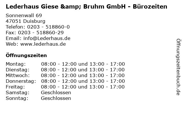 Lederhaus Giese & Bruhm GmbH - Bürozeiten in Duisburg: Adresse und Öffnungszeiten