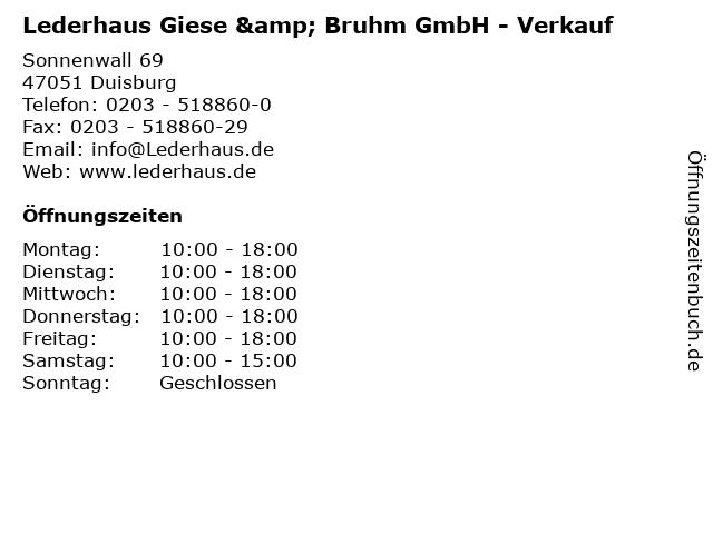 Lederhaus Giese & Bruhm GmbH - Verkauf in Duisburg: Adresse und Öffnungszeiten