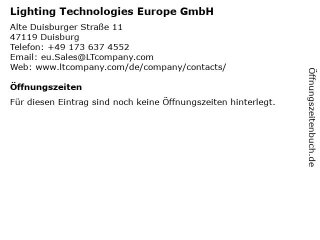 Lighting Technologies Europe GmbH in Duisburg: Adresse und Öffnungszeiten