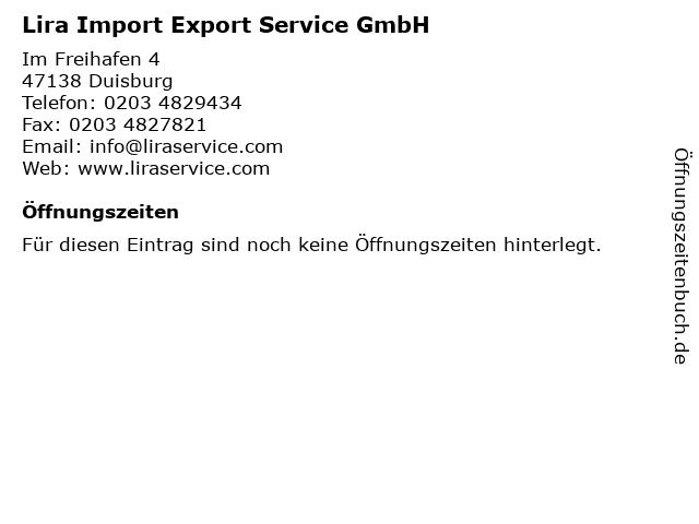 Lira Import Export Service GmbH in Duisburg: Adresse und Öffnungszeiten