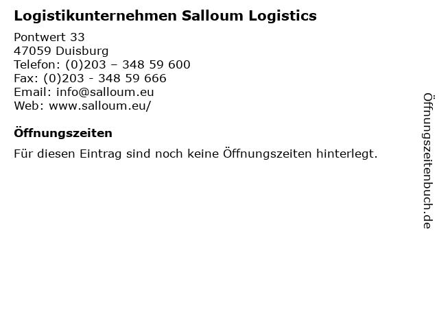 Logistikunternehmen Salloum Logistics in Duisburg: Adresse und Öffnungszeiten