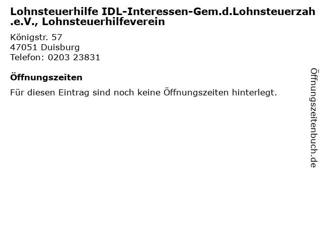 Lohnsteuerhilfe IDL-Interessen-Gem.d.Lohnsteuerzah.e.V., Lohnsteuerhilfeverein in Duisburg: Adresse und Öffnungszeiten