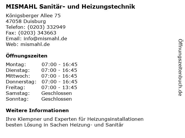 MISMAHL Sanitär- und Heizungstechnik in Duisburg: Adresse und Öffnungszeiten