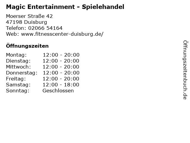 Magic Entertainment - Spielehandel in Duisburg: Adresse und Öffnungszeiten
