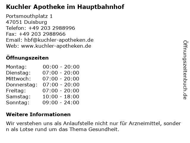 Malteser Apotheke im Hauptbahnhof in Duisburg: Adresse und Öffnungszeiten