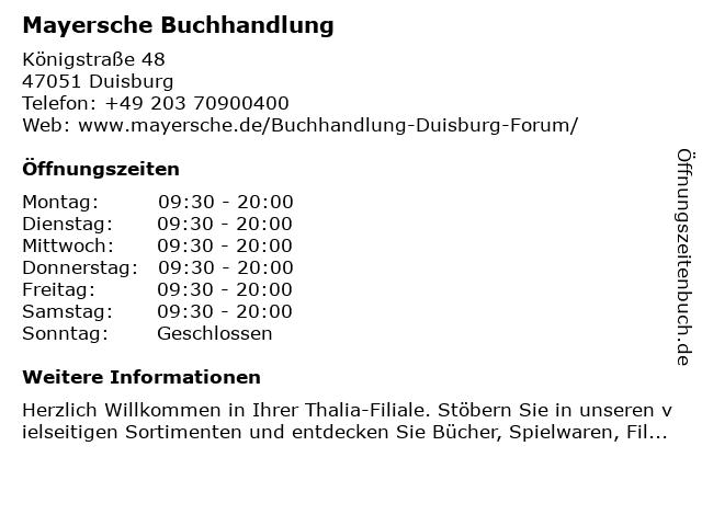 Mayersche Buchhandlung in Duisburg: Adresse und Öffnungszeiten
