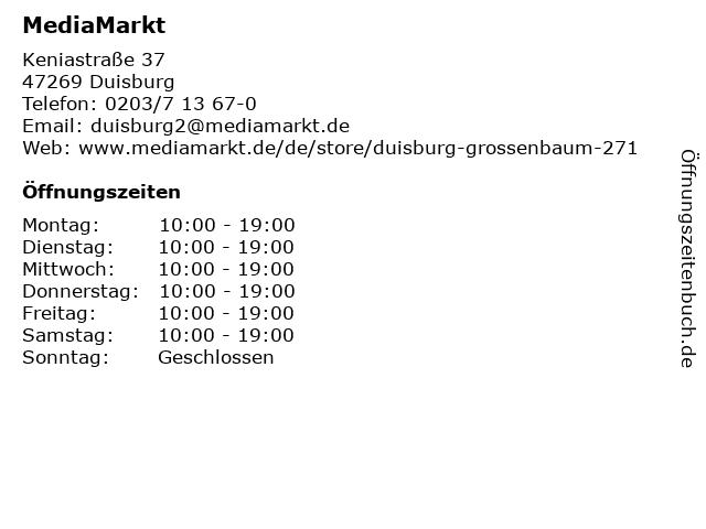 Media Markt Duisburg-Großenbaum in Duisburg: Adresse und Öffnungszeiten