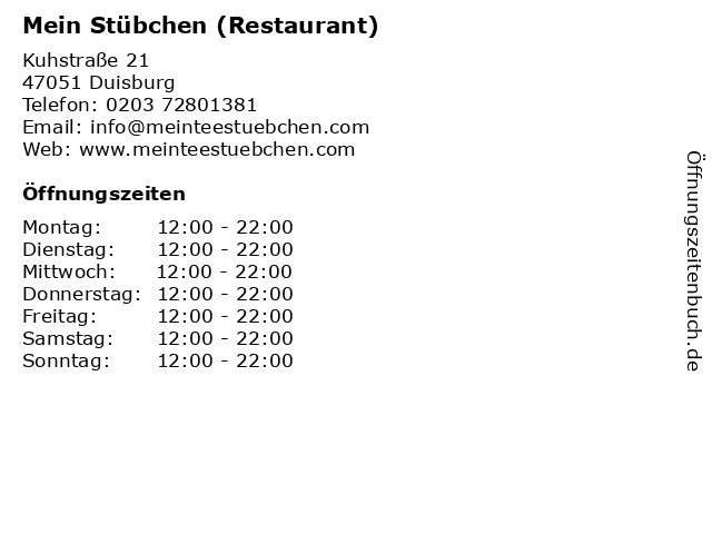 Mein Stübchen (Restaurant) in Duisburg: Adresse und Öffnungszeiten