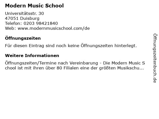 Modern Music School in Duisburg: Adresse und Öffnungszeiten