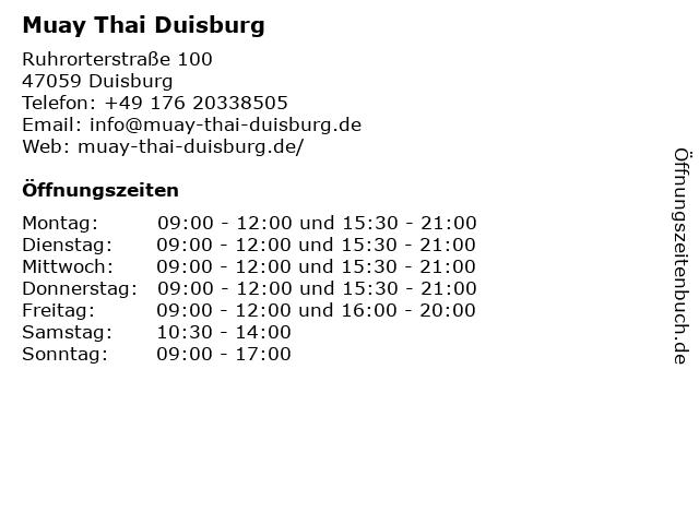 Muay Thai Duisburg in Duisburg: Adresse und Öffnungszeiten