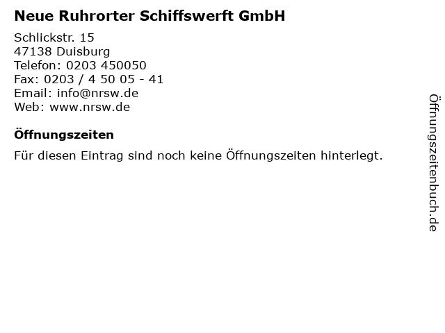 Neue Ruhrorter Schiffswerft GmbH in Duisburg: Adresse und Öffnungszeiten