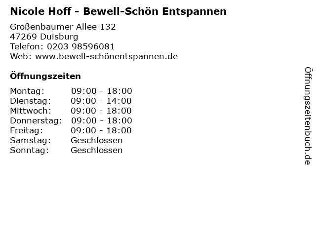 Nicole Hoff - Bewell-Schön Entspannen in Duisburg: Adresse und Öffnungszeiten
