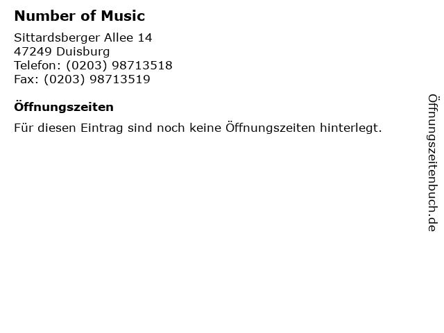 Number of Music in Duisburg: Adresse und Öffnungszeiten