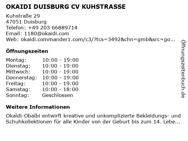 OKAIDI DUISBURG CV KUHSTRASSE in Duisburg: Adresse und Öffnungszeiten