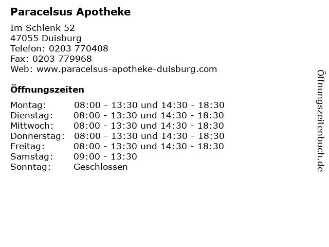 Paracelsus Apotheke in Duisburg: Adresse und Öffnungszeiten