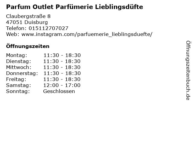 Parfum Outlet Parfümerie Lieblingsdüfte in Duisburg: Adresse und Öffnungszeiten