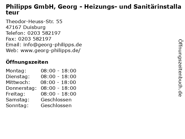 Philipps GmbH, Georg - Heizungs- und Sanitärinstallateur in Duisburg: Adresse und Öffnungszeiten