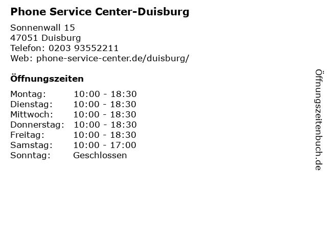 Phone Service Center-Duisburg in Duisburg: Adresse und Öffnungszeiten
