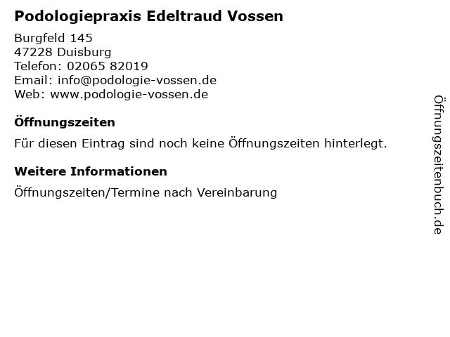 Podologiepraxis Edeltraud Vossen in Duisburg: Adresse und Öffnungszeiten