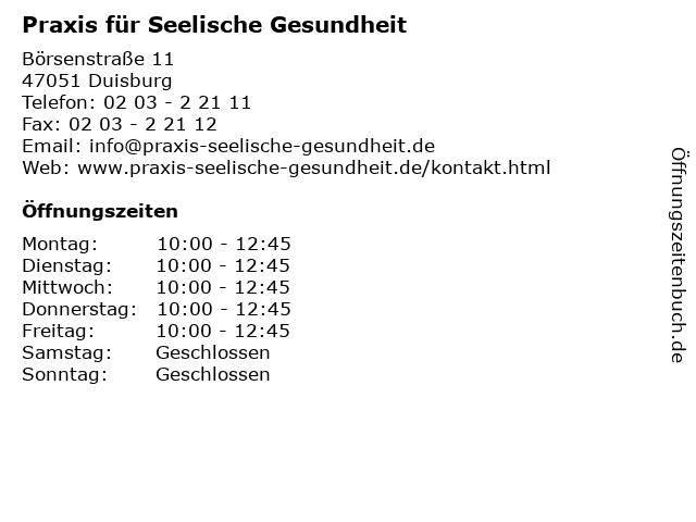Praxis für Seelische Gesundheit in Duisburg: Adresse und Öffnungszeiten