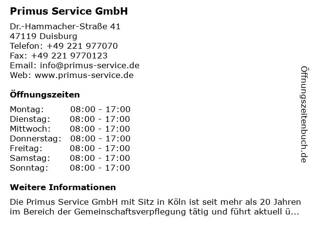 Primus Service GmbH in Duisburg: Adresse und Öffnungszeiten