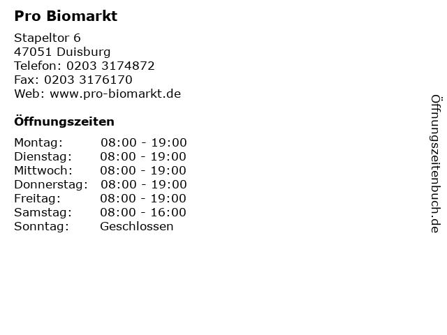 Pro Biomarkt in Duisburg: Adresse und Öffnungszeiten