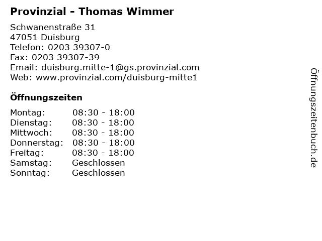 Provinzial - Thomas Wimmer in Duisburg: Adresse und Öffnungszeiten