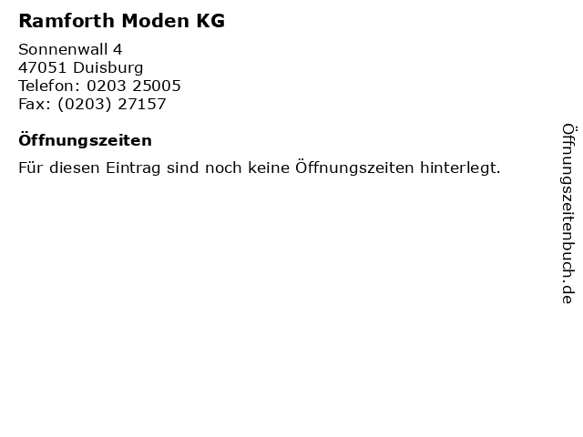 Ramforth Moden KG in Duisburg: Adresse und Öffnungszeiten