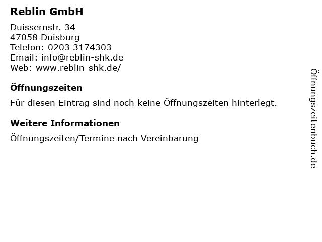 Reblin GmbH in Duisburg: Adresse und Öffnungszeiten