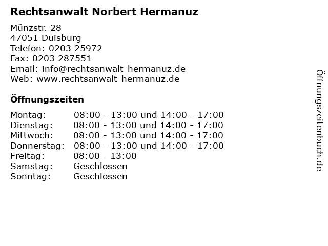 Rechtsanwalt Norbert Hermanuz in Duisburg: Adresse und Öffnungszeiten