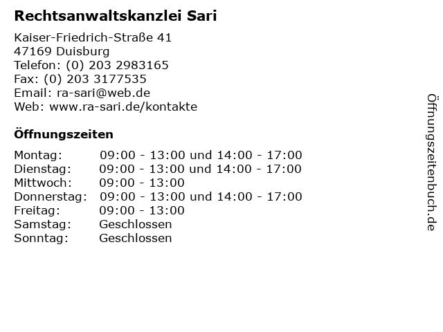 Rechtsanwaltskanzlei Sari in Duisburg: Adresse und Öffnungszeiten