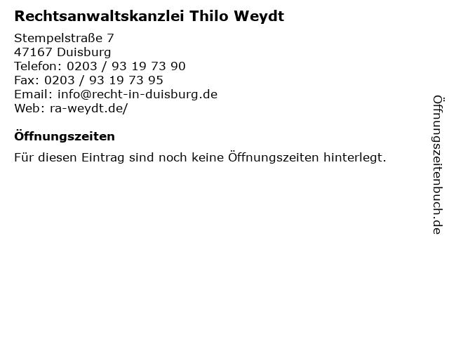 Rechtsanwaltskanzlei Thilo Weydt in Duisburg: Adresse und Öffnungszeiten